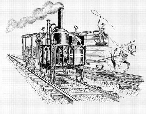 老式火车手绘简笔画